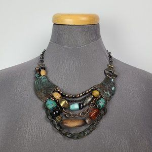 Hammered Beaded Turquoise Tone Layered Necklace